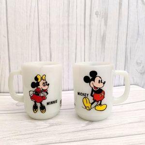 Vintage Disney Mickey and Minnie Milk Glass Mugs